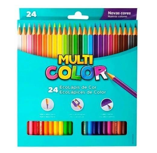 Lápis de Cor Sextavado Multicolor Super Eco 24 Cores (6 Unidades) - Faber-Castell