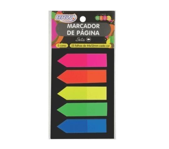 Marcador de pagina Adesivo 12X44Mm Neon Seta - Cores (25 folhas) - BRW