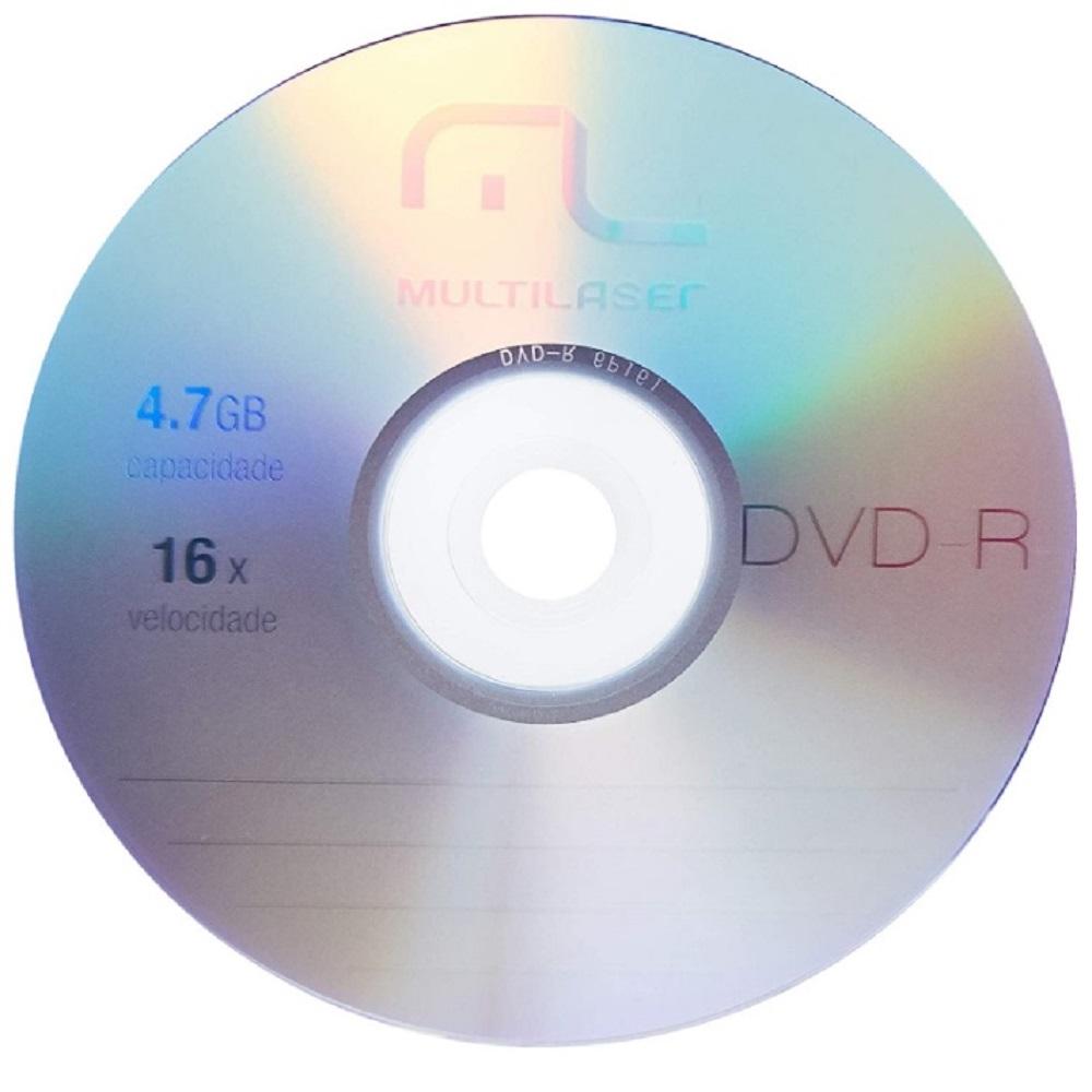 Mídia DVD-R gravável 4.7gb 120min 16x DV061 Multilaser PT (50 Unidades)