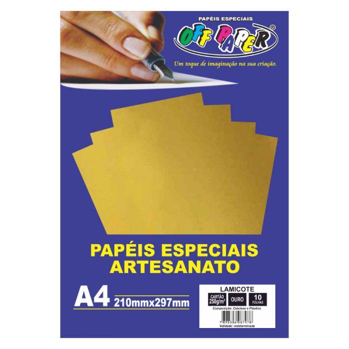 Papel Lamicote A4 250GR Ouro C/10FLS