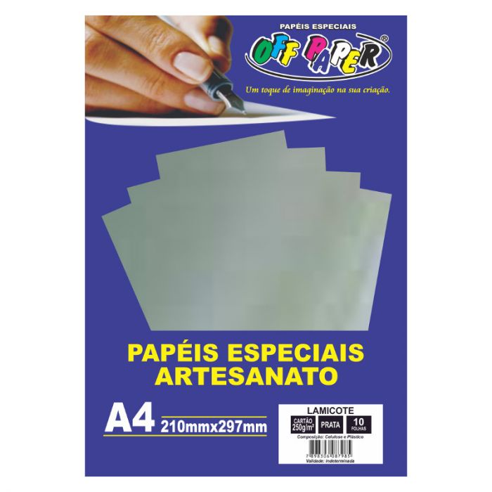 Papel Lamicote A4 250GR Prata C/10FLS