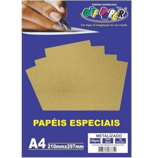 Papel Metalizado A4 OURO Velho 150g - Off Paper