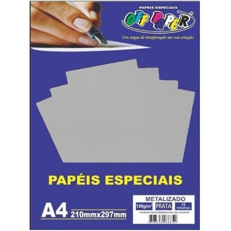 Papel Metalizado A4 PRATA 150g - Off Paper