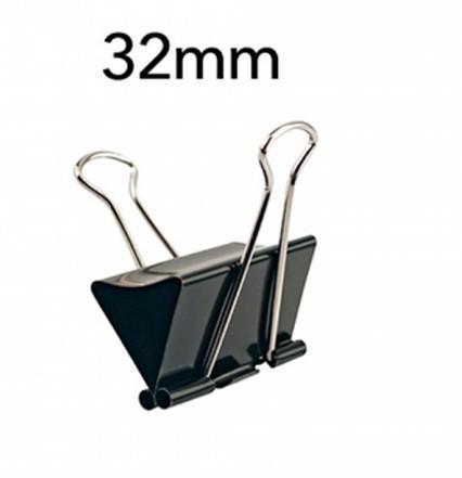 Prendedor de Papel 32mm 100 Folhas PRETO (12 Unidades)