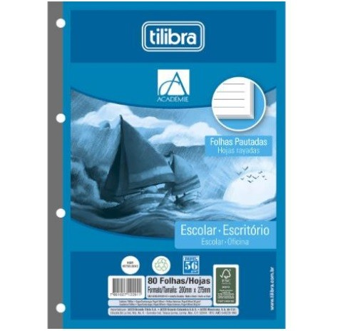 Refil Tiliflex Académie 80 folhas (5 unidades) - Tilibra