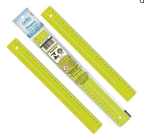 Régua Plástica 30cm AMARELA - Dello (10 Unidades)