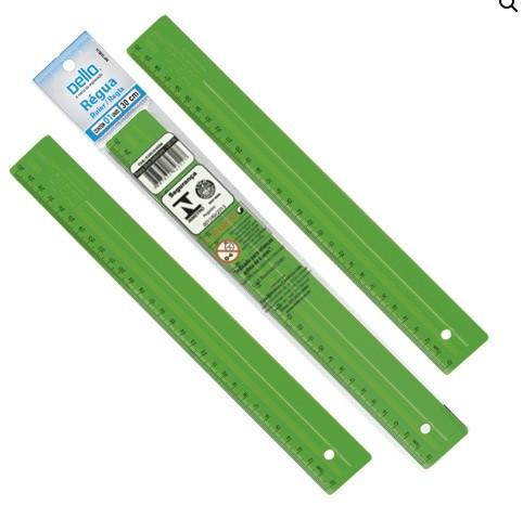 Régua Plástica 30cm VERDE - Dello (10 Unidades)