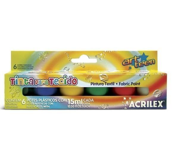Tinta para Tecido Fosca Sortido 6 cores 15ml - Acrilex