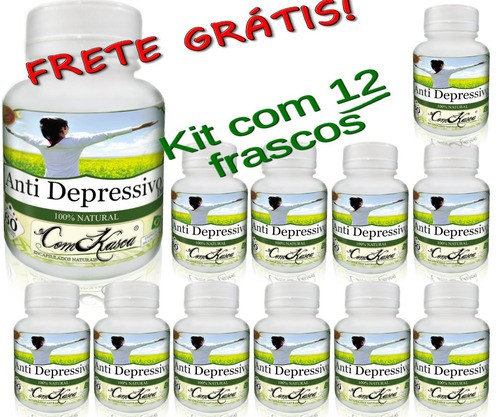 12 Frascos De Composto Natural Anti Depressivo 60 Cáps