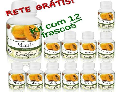 12 Frascos De Mamão Comkasca ( 100 % Natural )