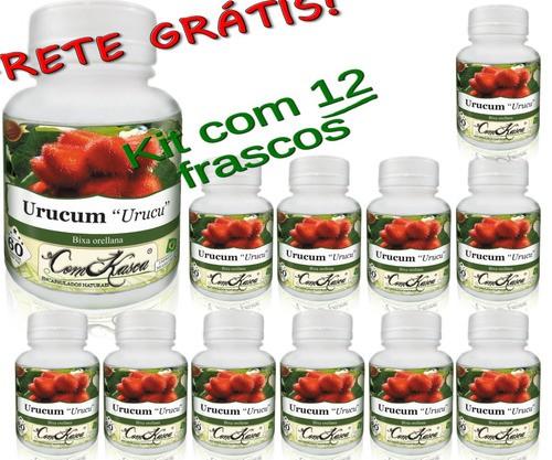 12 Frascos De Urucum Comkasca 60 Caps (cicatrizante)