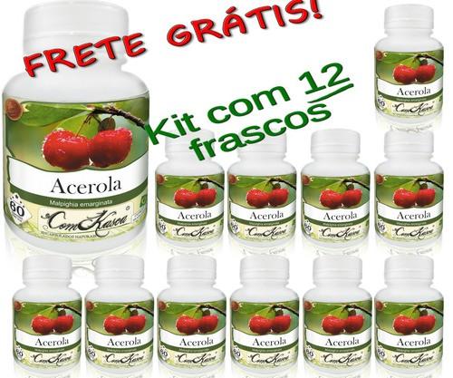 12 Potes De Acerola Comkasca 60 Caps