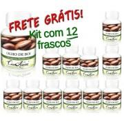 Kit 12 Frascos De Olho De Boi Com 60 Capsulas