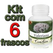 Valeriana - 6 potes com 60 cápsulas