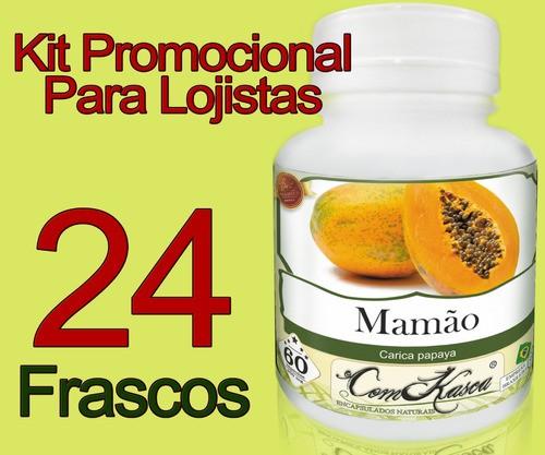 24 Frascos De Mamão Comkasca ( 100 % Natural )