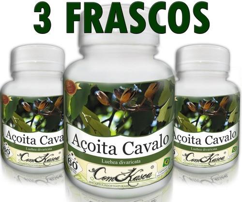 3 Frascos = 180 Cápsulas De Açoita Cavalo