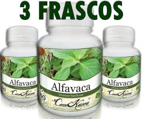 3 Frascos De Alfavaca - Purifica O Sangue