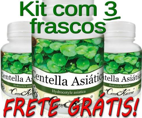 3 Frascos De Centella Asiática - 180 Cápsulas