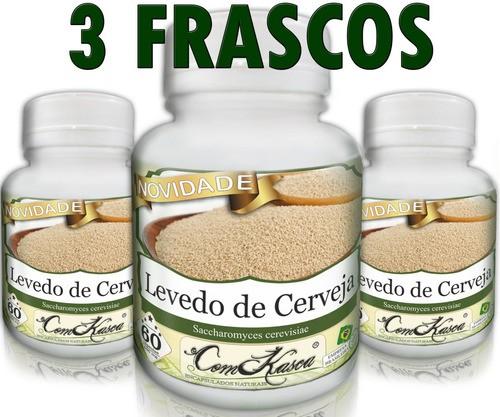 3 Frascos De Levedo De Cerveja (saccharomyces Cerevisiae)