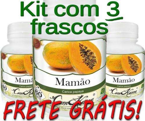 3 Frascos De Mamão Comkasca