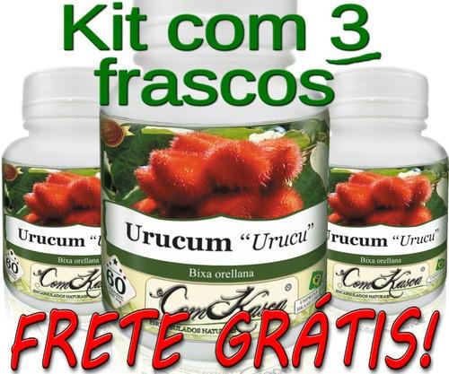 3 Frascos De Urucum Comkasca 60 Caps (cicatrizante)