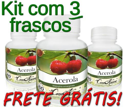3 Potes De Acerola (malpighia Emarginata) Em Cápsulas