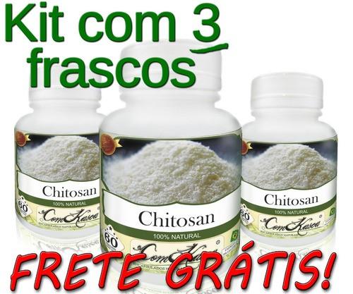 3 Potes De Chitosan (quitosana) Em Cápsulas