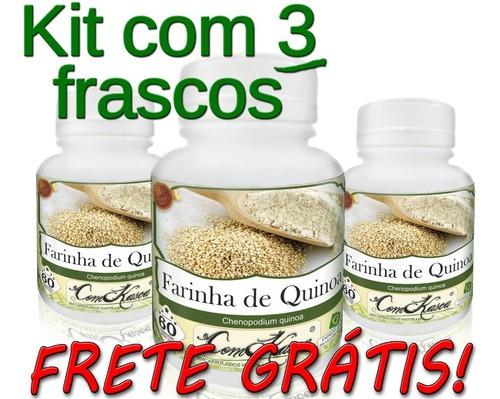 3 Potes De Farinha De Quinoa Chenopodium Quinoa Em Cápsulas