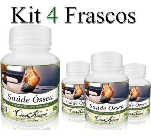 4 Frascos = 240 Cápsulas De Saúde Óssea
