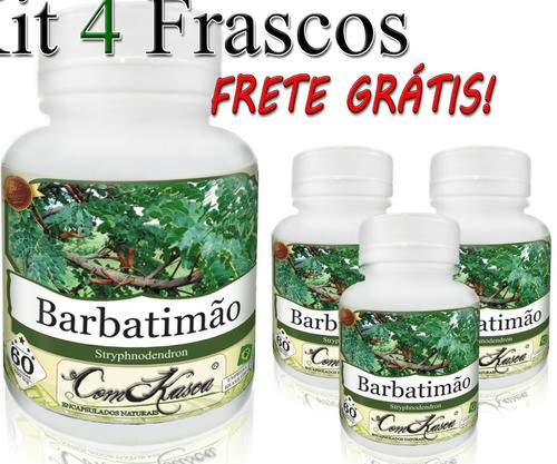 4 Potes De Barbatimão (stryphnodendron) Em Cápsulas