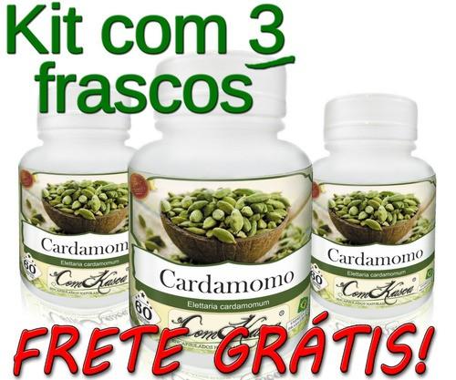 Cardamomo - 3 potes com 60 cápsulas