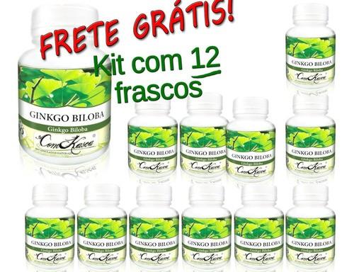 Kit 12 Frascos De Ginkgo Biloba Com 60 Capsulas