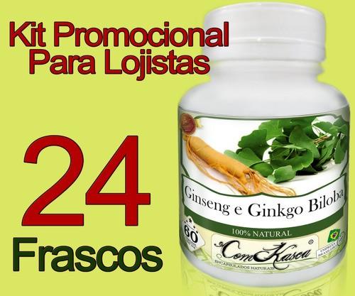 Kit 24 Frascos De Ginkgo Biloba Com 60 Capsulas