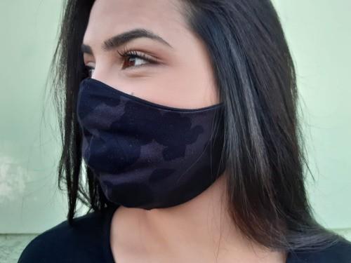 Kit 2 Máscaras Dupla Lavável Camuflada Preta Unisex
