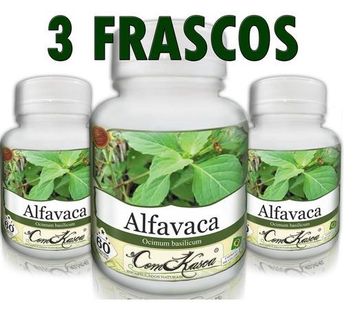 Kit 3 Potes De Alfavaca 60 Caps