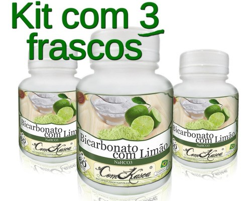 Kit 3 Potes De Bicarbonato Com Limão 60 Caps