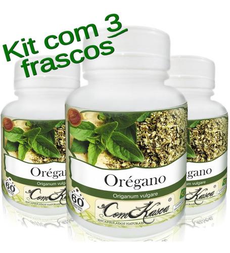 Orégano - 3 potes com 60 cápsulas