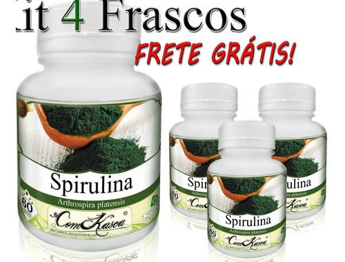 Spirulina - 4 potes com 60 cápsulas