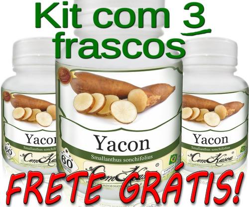 Yacon - 3 potes com 60 cápsulas