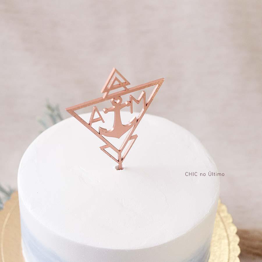 Âncora - Topo de bolo personalizado de madeira