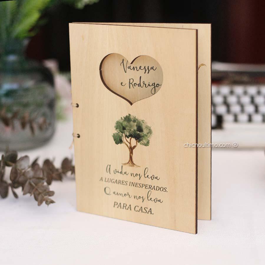 Árvore Livreto - Convite de Madeira Quadro