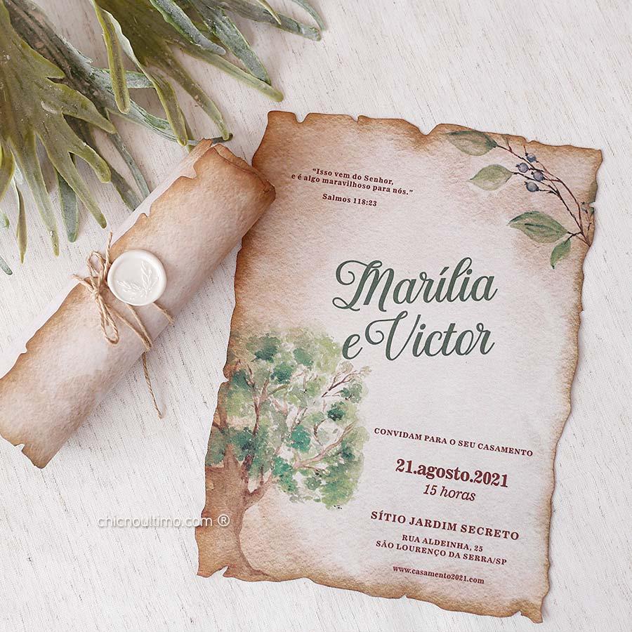 Arvore Pergaminho - Convite Pronto