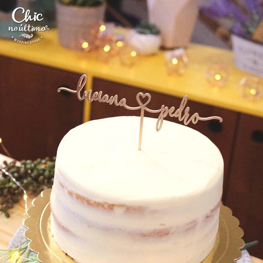 Assinatura - Topo de bolo personalizado de madeira