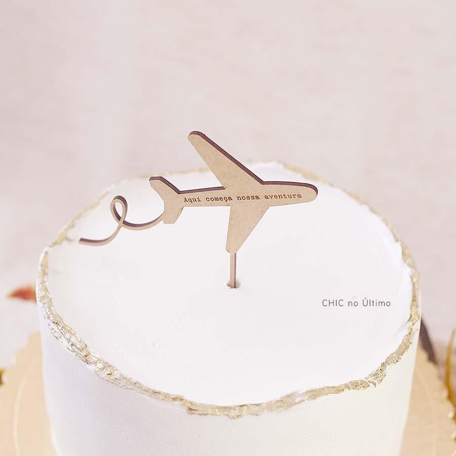Avião - Topo de bolo de madeira