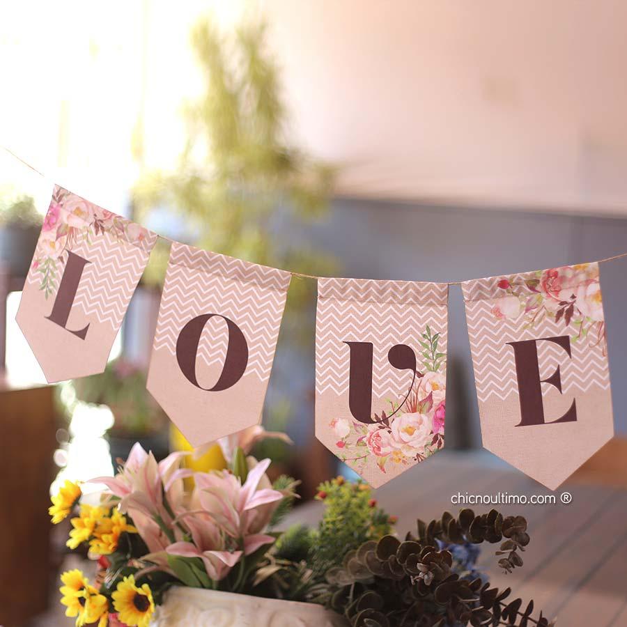 Bandeirola de tecido Romance