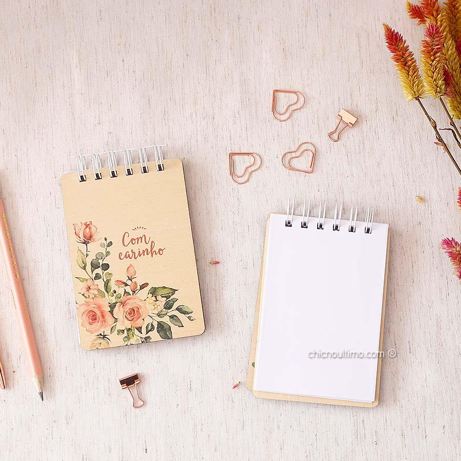Bloquinho de anotações | wire-o | capa de madeira | Blush