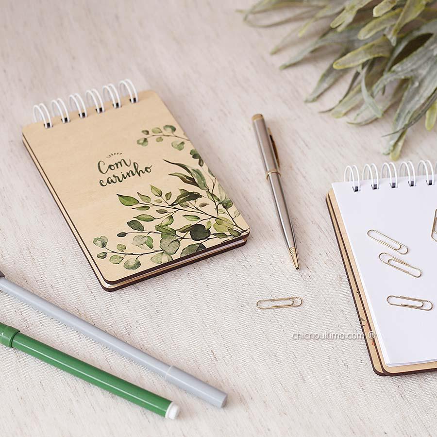 Bloquinho de anotações | wire-o | capa de madeira | Botânica
