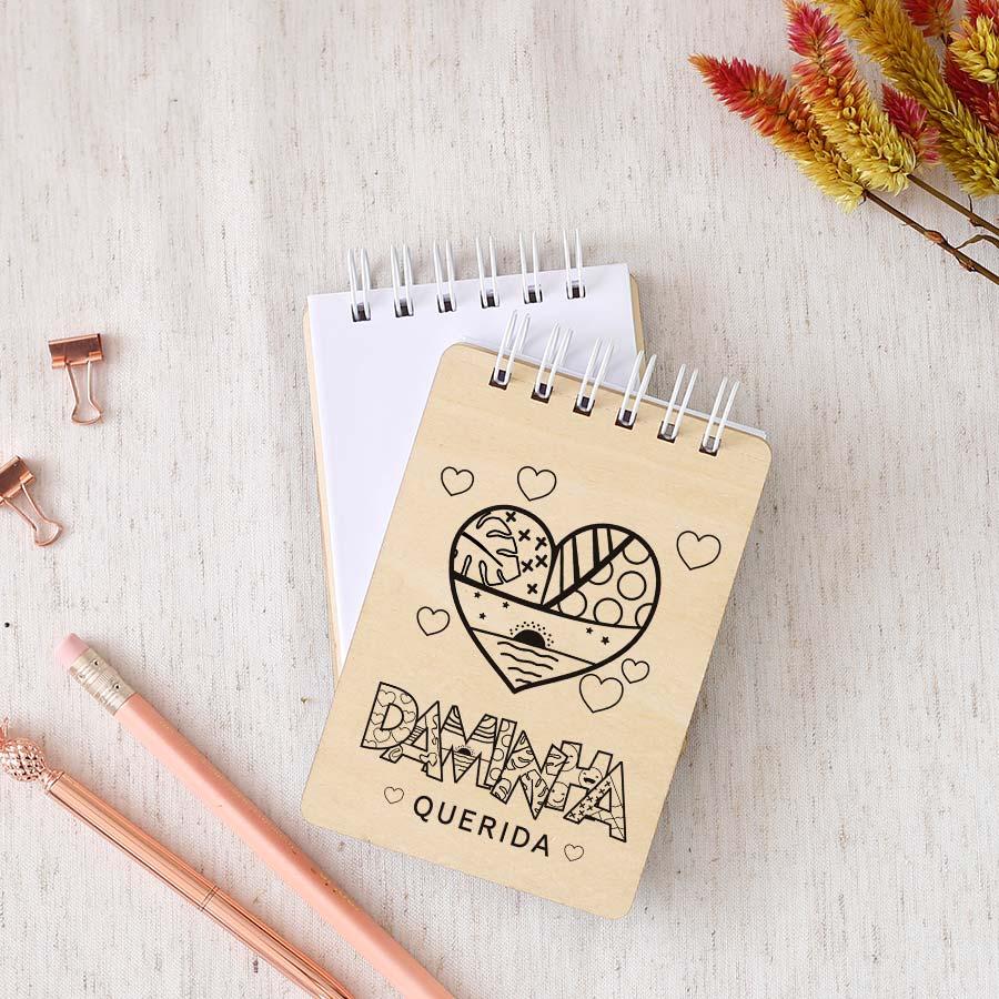 Bloquinho de anotações | wire-o | capa de madeira | Daminha