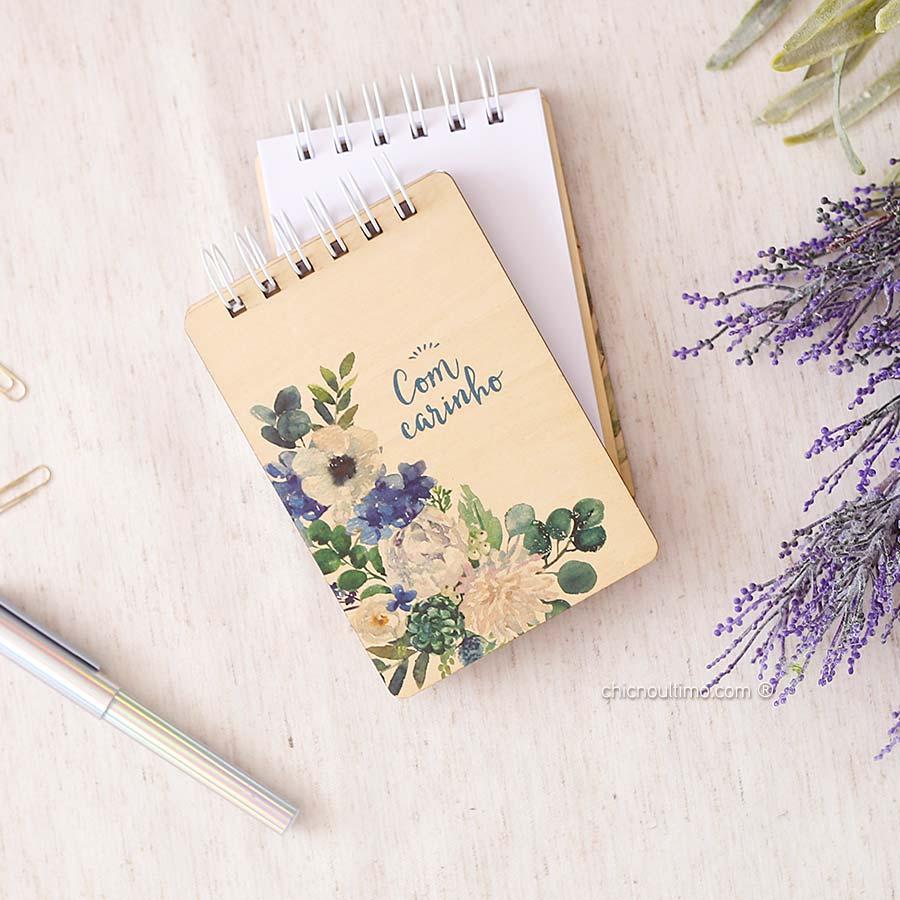 Bloquinho de anotações | wire-o | capa de madeira | Serenety
