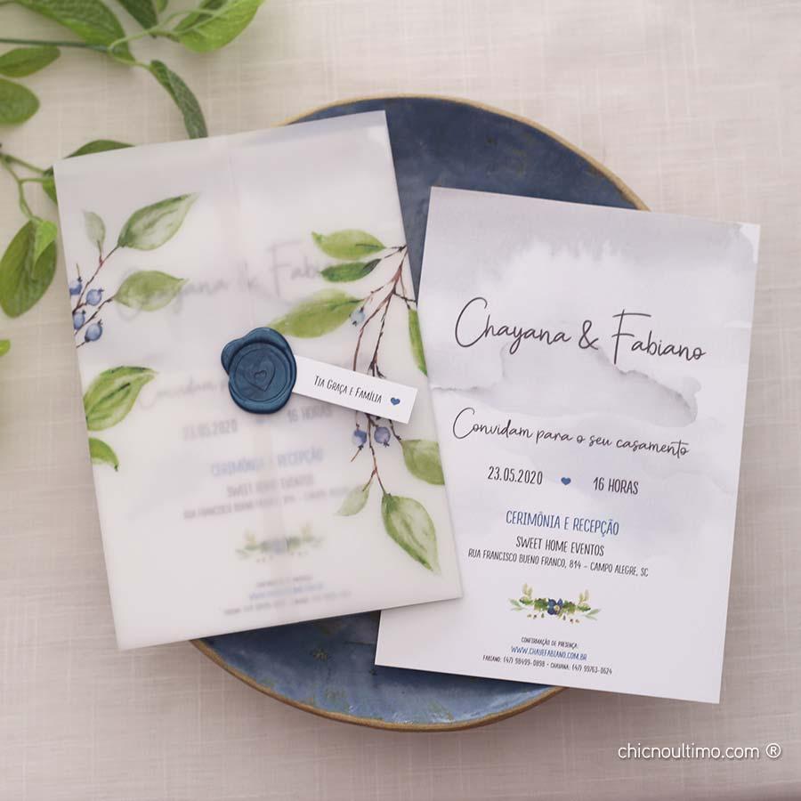 Blueberry Translúcido - Convite Pronto